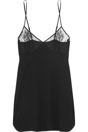 Eva lace-trimmed stretch modal-blend chemise