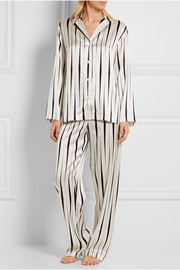 Striped silk-satin pajama set
