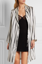 La Perla Striped silk-satin robe