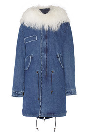 Shearling-trimmed stretch-denim parka