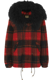 Shearling-trimmed checked felt coat
