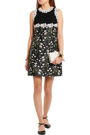 Guipure lace and floral-jacquard mini dress