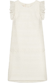 Giambattista Valli Organza and lace-trimmed tweed mini dress