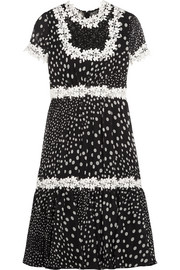 Lace-trimmed polka-dot silk-georgette dress
