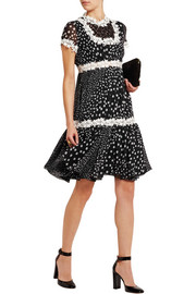 Giambattista Valli Lace-trimmed polka-dot silk-georgette dress