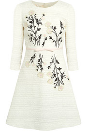 Embroidered appliquéd cotton-blend tweed dress