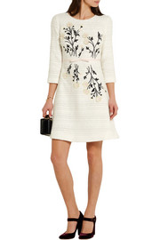 Giambattista Valli Embroidered appliquéd cotton-blend tweed dress