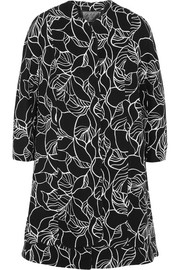 Scalloped printed crepe coat