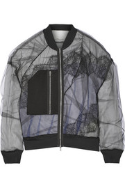 3.1 Phillip Lim Satin and lace-paneled tulle bomber jacket
