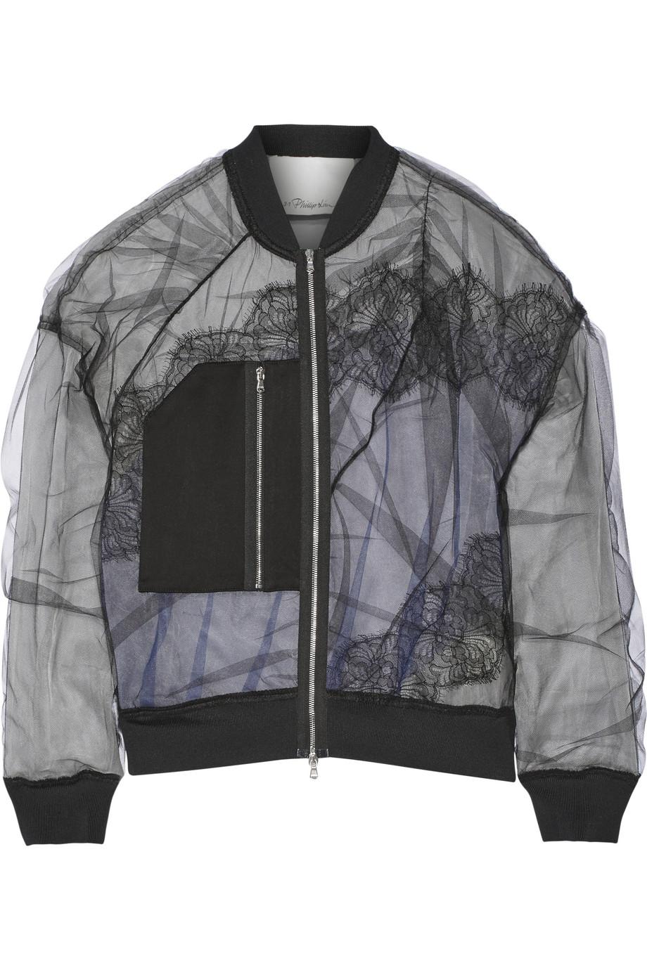3.1 Phillip Lim Satin and Lace-Paneled Tulle Bomber Jacket, Black, Women's, Size: 2