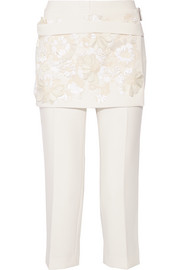 Embellished crepe tapered pants