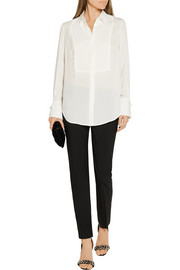 Fringed silk-crepe shirt