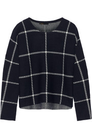 Mademoise checked wool-blend sweater