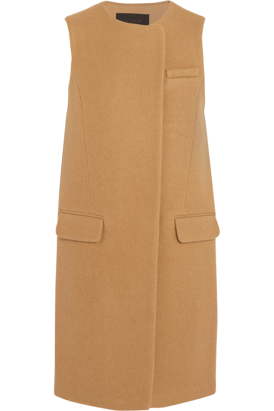 J.Crew Collection Cora Boiled Wool Gilet, Camel, Women's, Size: 14
