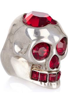 Alexander McQueen|Swarovski metal skull ring|NET-A-PORTER.COM from net-a-porter.com
