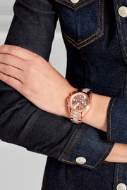Rose gold-tone and acetate watch