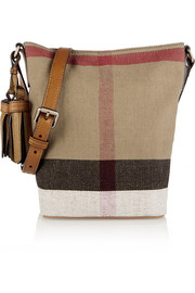 London mini leather-trimmed checked canvas shoulder bag