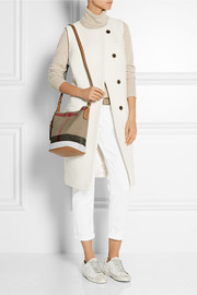 Burberry Mini leather-trimmed checked canvas shoulder bag