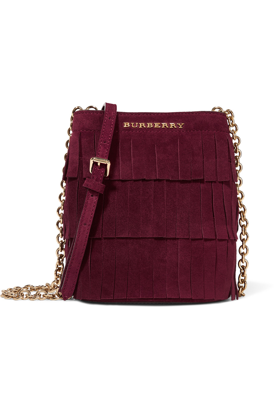 Mini Fringed Suede Bucket Bag, Burberry Prorsum, Burgundy, Women's