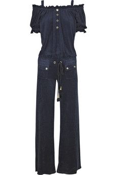 Juicy Couture | Off-the-shoulder velour jumpsuit | NET-A-PORTER.COM
