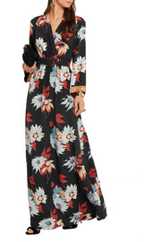 Embellished floral-print silk maxi dress