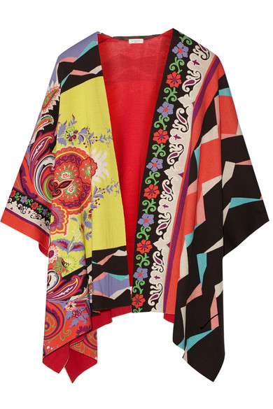 Etro - Cotton-jacquard Poncho - Red