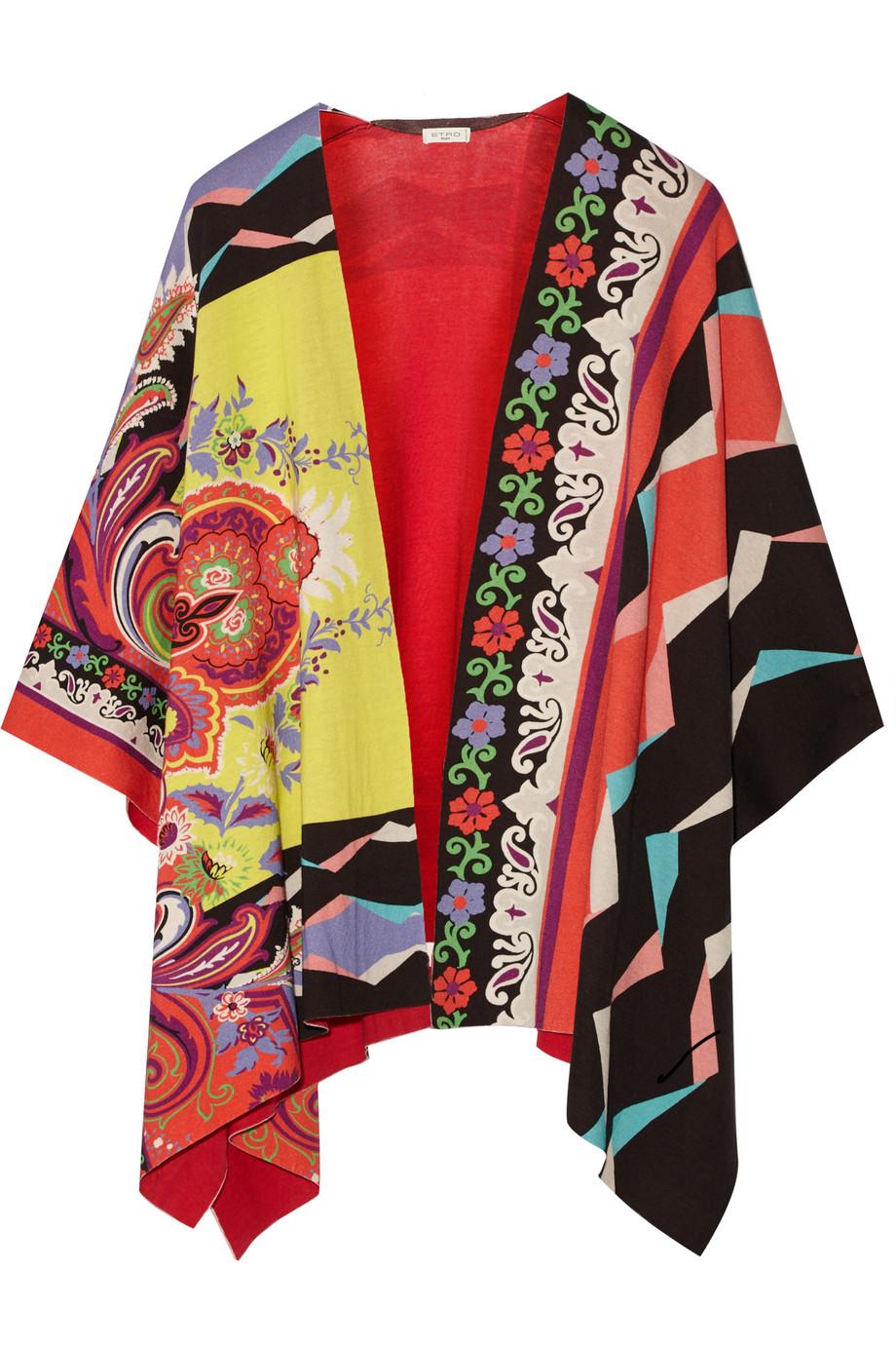 Etro Cotton-Jacquard Poncho, Red, Women's