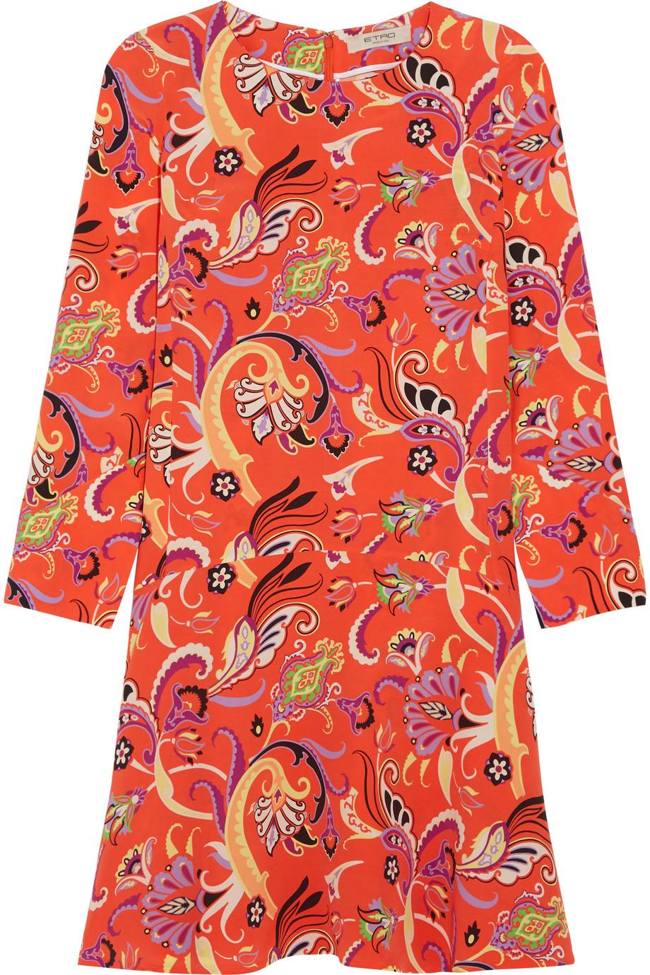 Etro Printed Silk Crepe De Chine Dress, Orange, Women's - Printed, Size: 48