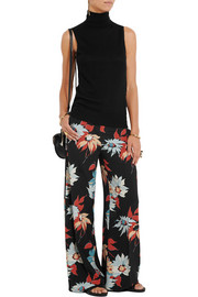 Floral-print silk wide-leg pants