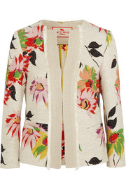 Floral-print cotton-blend jacket