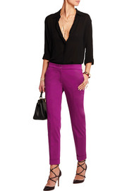Sigaretta cropped stretch-satin straight-leg pants