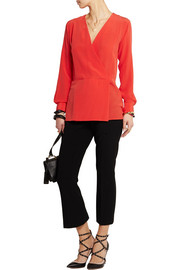 Donna wrap-effect  silk crepe de chine top