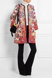 Printed cotton-blend tweed coat