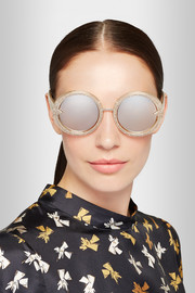 Orbit Filigree round-frame gold-tone and glittered acetate mirrored sunglasses
