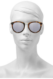 No Smirking round-frame acetate and metal mirrored sunglasses