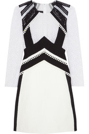 Burberry Prorsum Lace-paneled cotton-blend cloqué dress