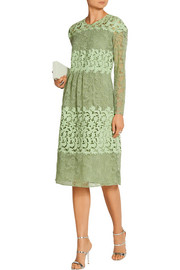 Burberry Prorsum Paneled cotton-blend lace dress