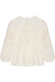 Paneled cotton-blend lace peplum blouse