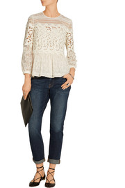Burberry Prorsum Paneled cotton-blend lace peplum blouse