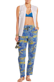 Printed silk-crepe pants