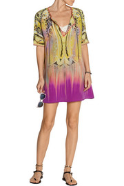 Printed silk-crepe tunic