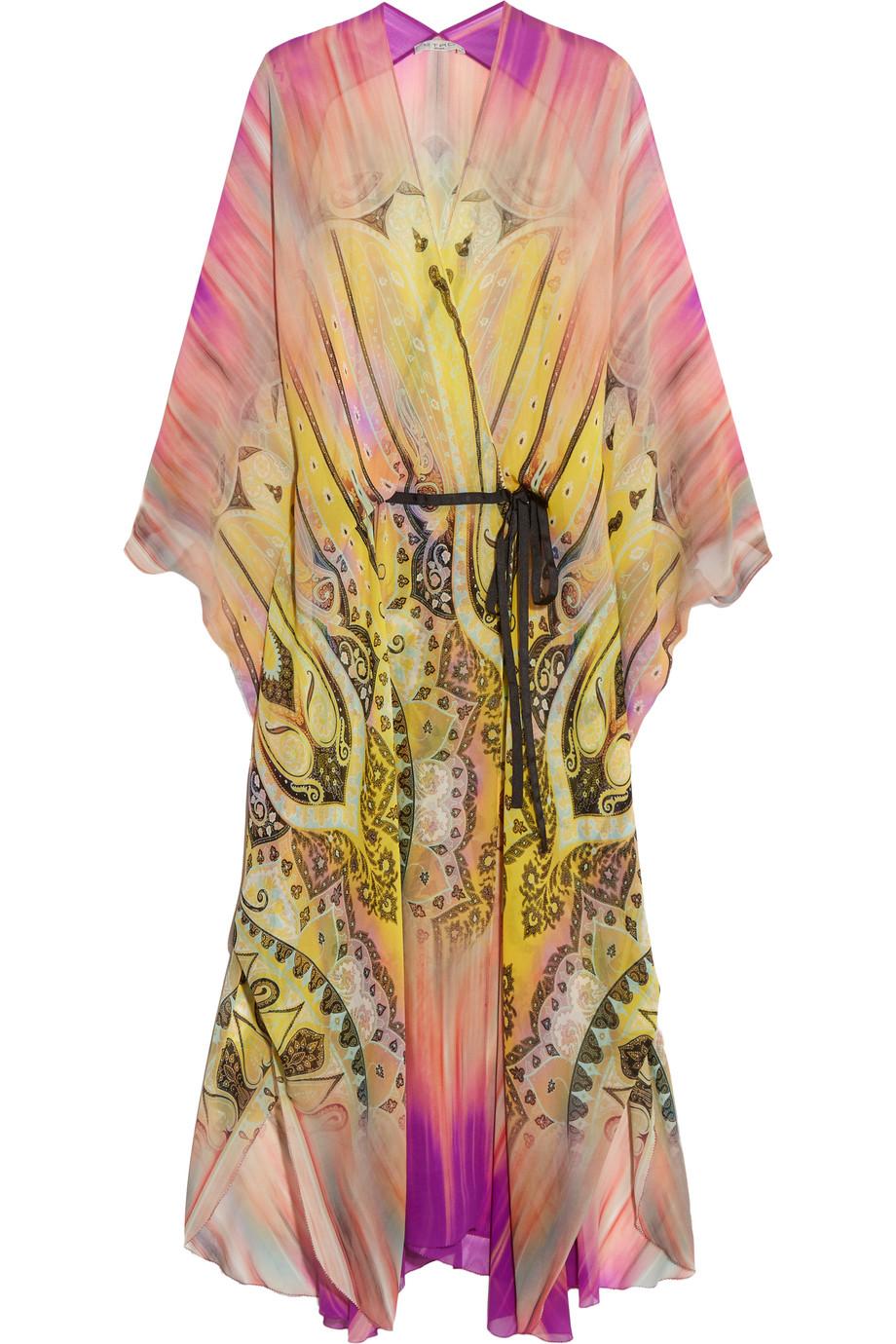 Etro Printed Silk Kimono, Yellow, Women's, Size: 44
