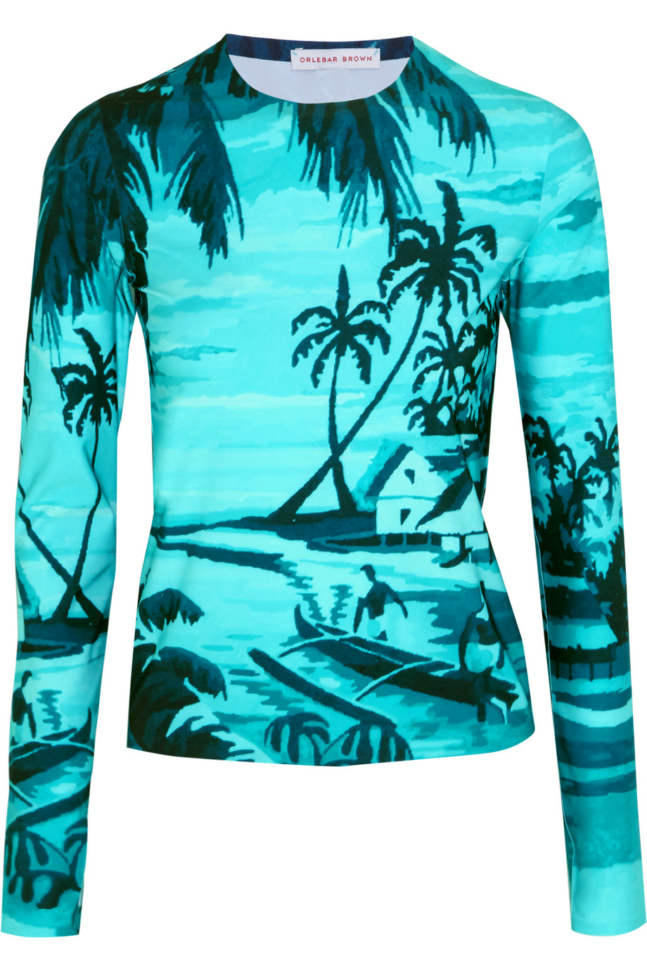 Orlebar Brown Luisa Printed Rash Guard, Azure, Size: XS