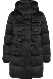 Leather-trimmed quilted shell down duffle coat