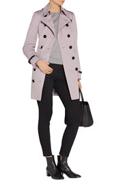 Burberry London The Sandringham leather-trimmed cotton-gabardine trench coat