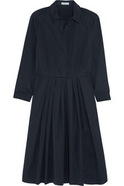 Pleated cotton-twill dress