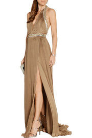 Embellished plissé silk-satin gown