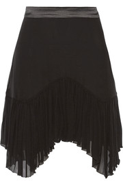 Asymmetric satin-trimmed silk-georgette mini skirt