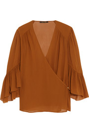 Roberto Cavalli Ruffled silk-georgette wrap top