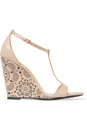 Burberry Prorsum Laser-cut leather wedge sandals